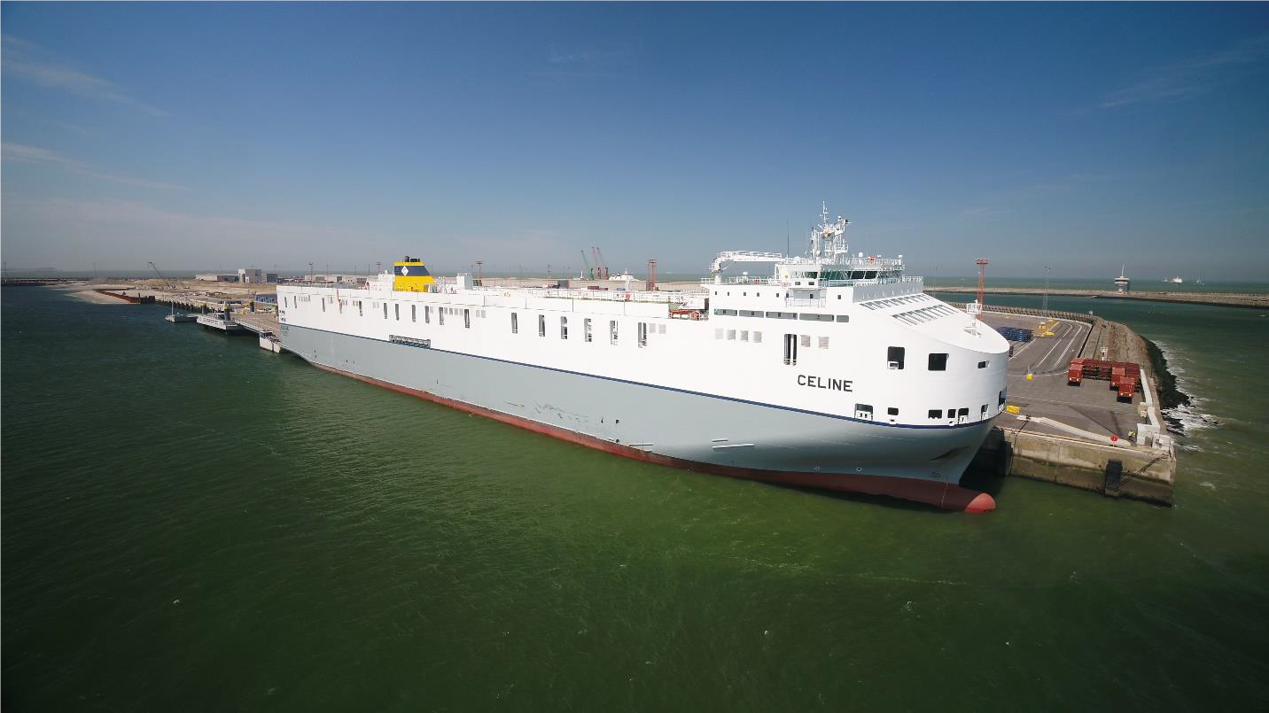 CLdN's Brexit Buster 8.000 lane meter MV 'Celine' the biggest RoRo Vessel in the world, deployed on the Zeebrugge – Dublin route.